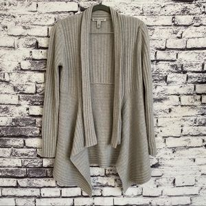 Autumn Cashmere Rip Draped Cardigan Pearl Gray